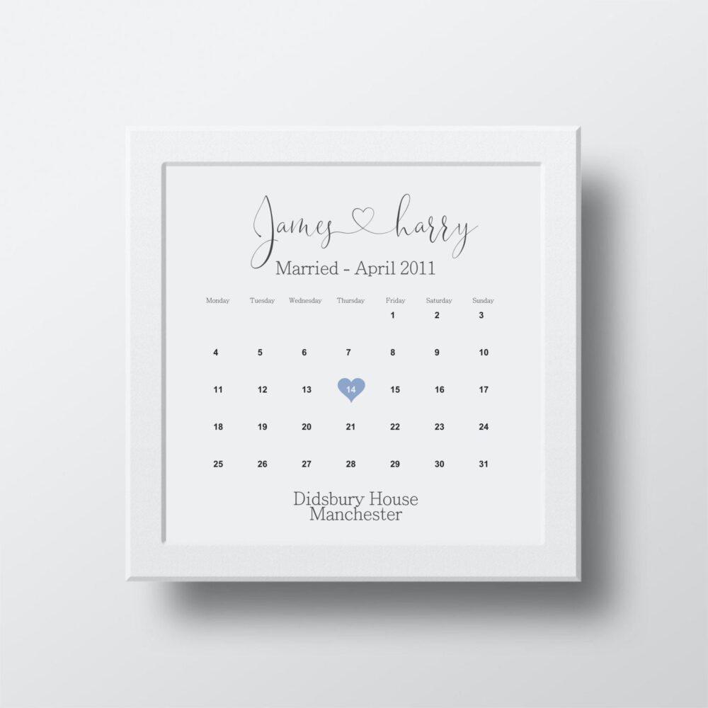 Wedding date calendar print