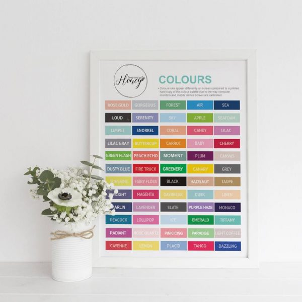 Soap and Honey ltd - Colour chart