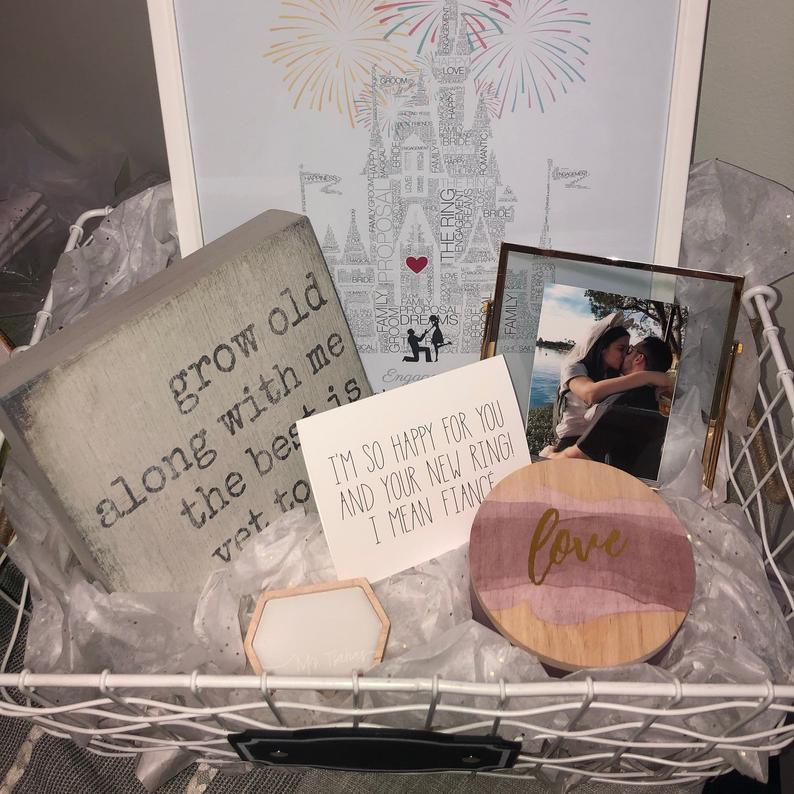 Disney engagement gift framed