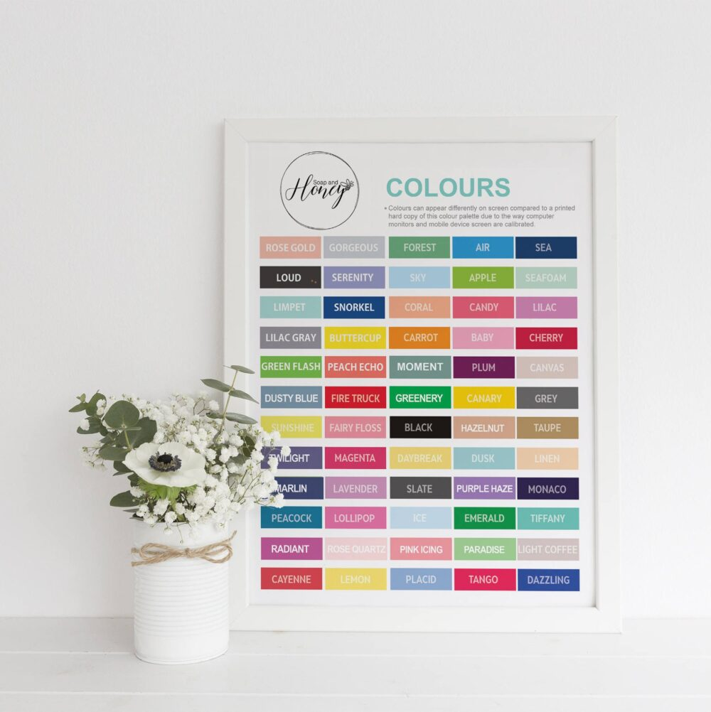 Colour chart - Soap and Honey ltd Etsy
