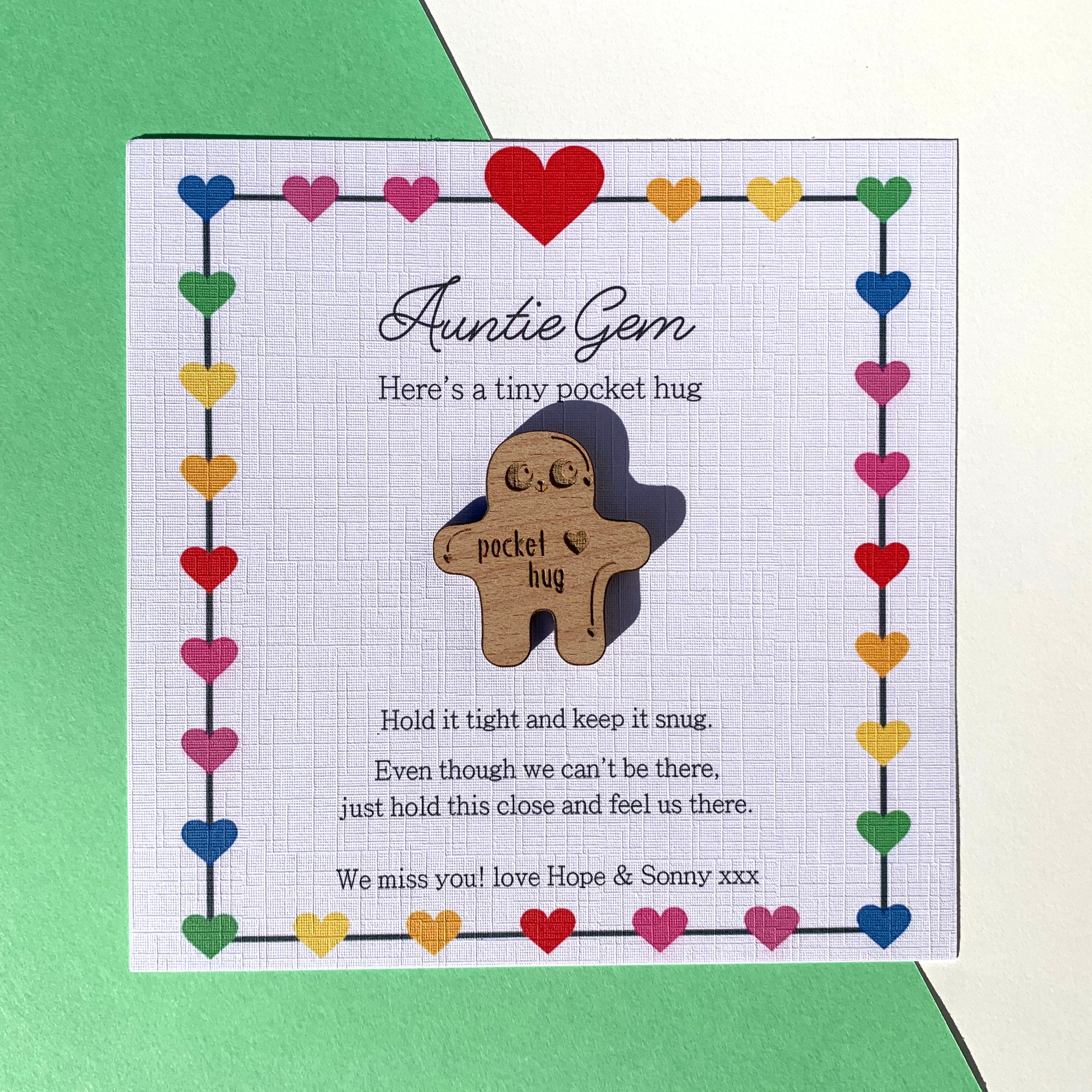 Personalised Card Tiny Little Pocket Hug With