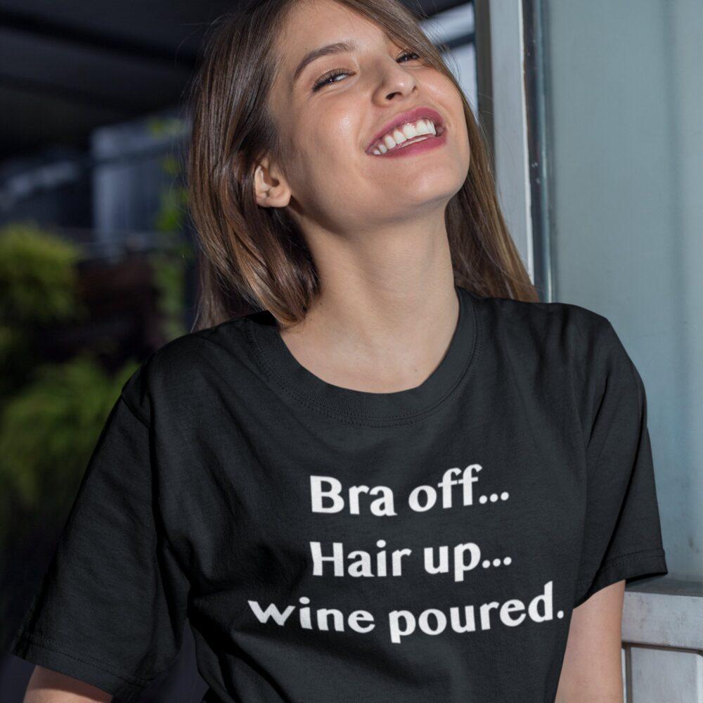 Bra off Hair up T-shirt