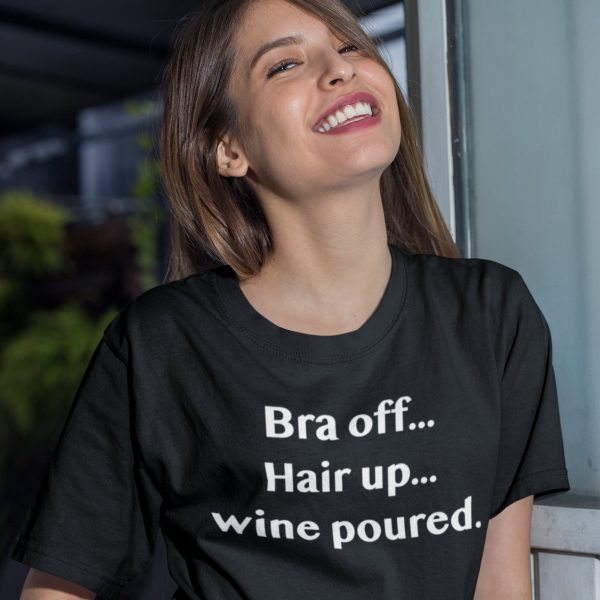 Bra off Hair up T-shirt