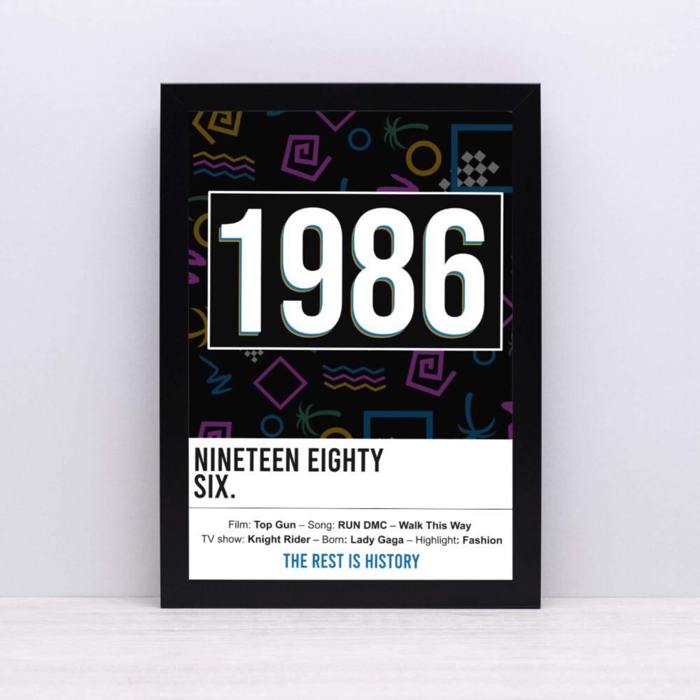 Personalised 1980's birth print