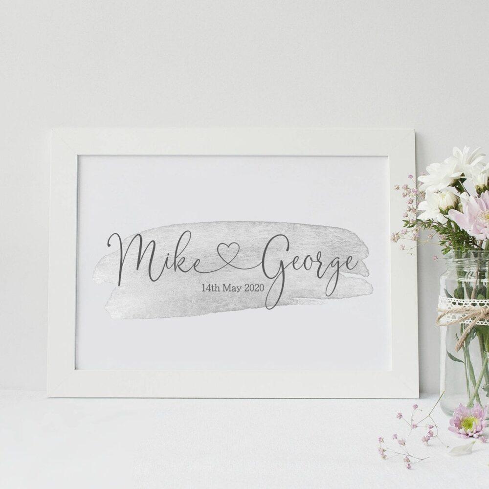 Couple Engagement gift, Engagement Print, Engagement Frame, Personalised engagement gift